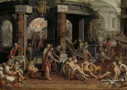Aertsen, Pieter: The Healing of the Paralytic, Pool of Bethesda. Fine Art Print/Poster. Sizes: A4/A3/A2/A1 (004031)